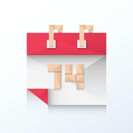 feb: Valentines Day Calendar Feb 14th icon origami