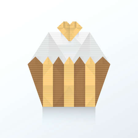 indulgence: Valentine cupcake icon origami paper Illustration