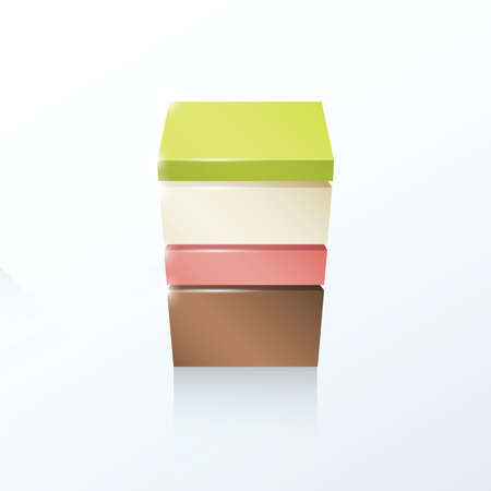 pink brown: Layered cube icon Green, white, pink, brown
