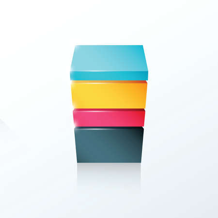 pink and black: Layered cube icon yellow, blue, pink, black color Illustration