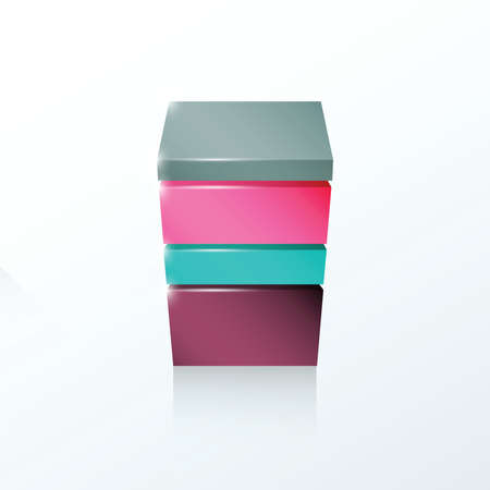 pink and green: Layered cube icon Gray, purple, pink, green.