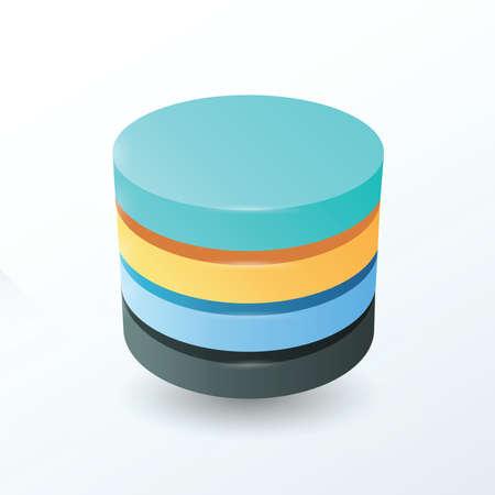 secondary colors: Circles 4 layer  blue, orange, black color
