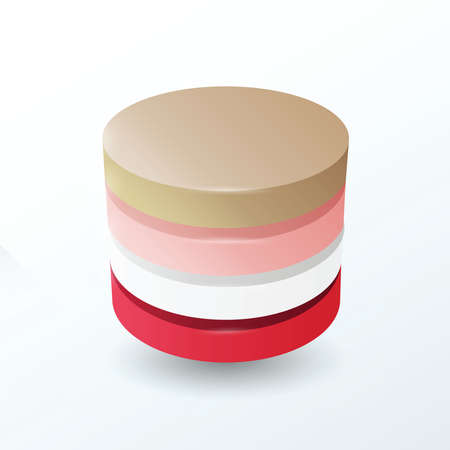 secondary colors: Circles 4 layer  Brown, pink, white, red color