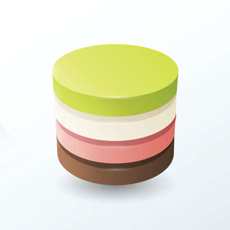 pink and brown: Circles 4 layer  Green, white, pink, brown Illustration