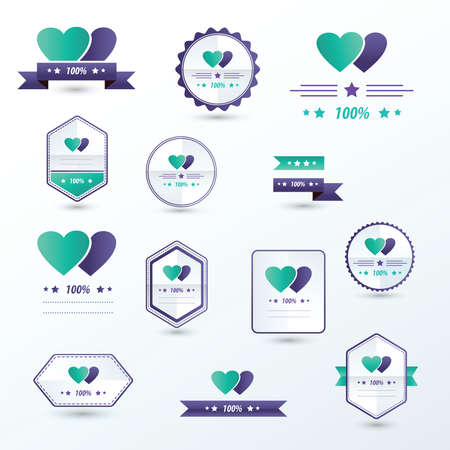 green and purple: label Valentines Day set Purple, green color