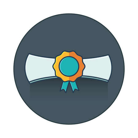 the alumnus: graduation cap and diploma  icon flat icon Illustration