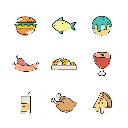 frozen meat: Foods flat icon set