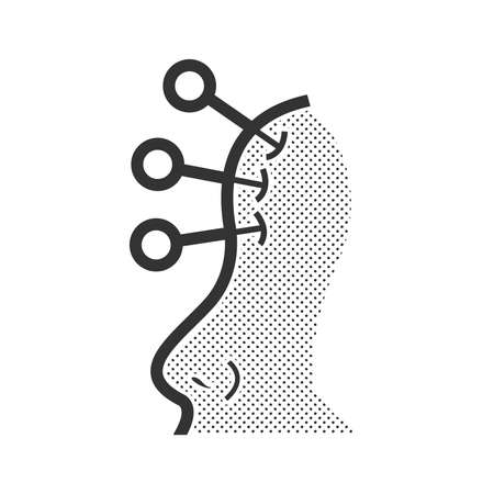 anti age: Acupuncture Facial icon Illustration