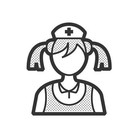 clothe: woman nurse icon, old clothe style