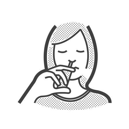 nasal: Otolaryngology, using nasal spray icon Illustration