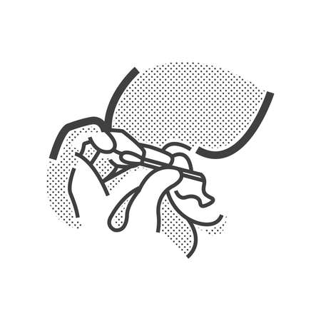 personal grooming: Otolaryngology, cleaning ear icon Illustration