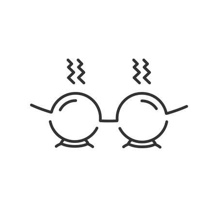 Línea icono de estilo, colocación de icono de una taza caliente de Terapeuta Ilustración de vector