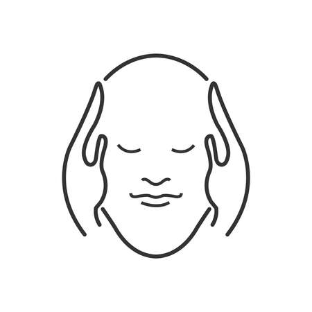 relaxed: Line Icon Style, head massage icon