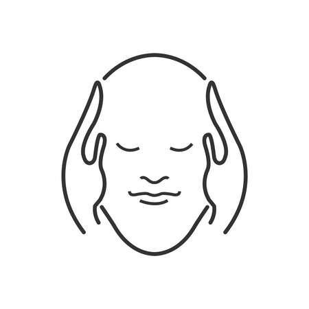 head massage: Line Icon Style, head massage icon