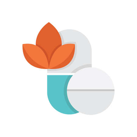 alternative medicine: Flat Icon  Pills Alternative medicine icon Illustration
