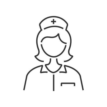 clinical staff: line icon nurse avatar, icon design vector