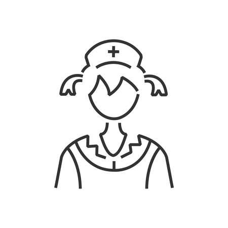 clothe: line icon woman nurse icon, old clothe style