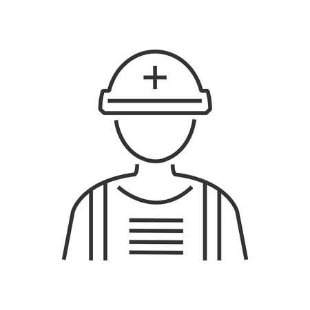 Ratownicy ikona linii, awatar medyczna płaska ikona