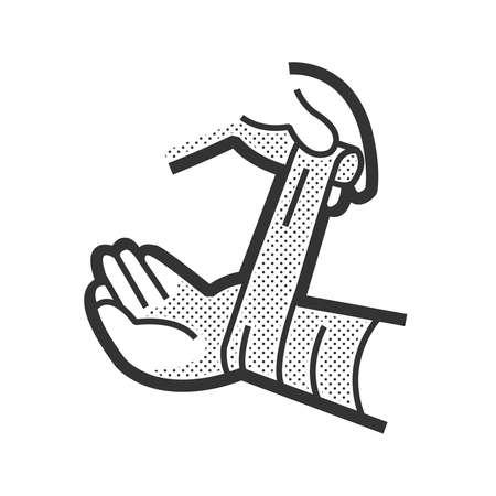 bandaging: Medical Patient icon, Injury hand Illustration