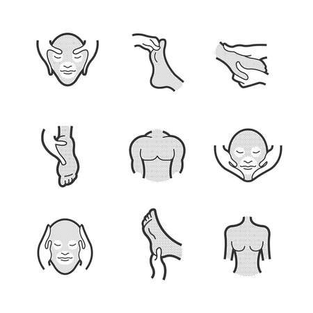 alternative medicine: Set of Alternative Medicine, massage Icons Illustration