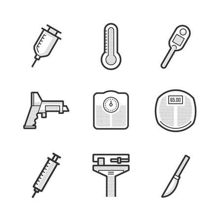 medical device: Set Of Medical Device Icon Illustration