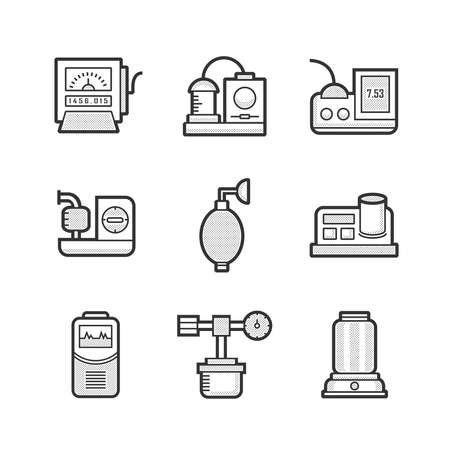 dialysis: Medical Device Icon Set of Operating Room Illustration