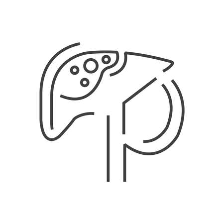 pancreatic cancer: Line icon Pancreas cancer icon design
