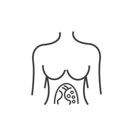 appendix: Line icon woman Anatomy of scan cancer icon