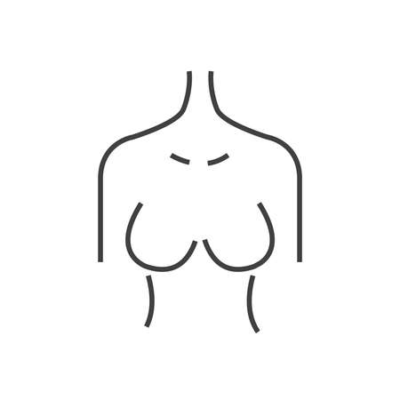 Line icon breast cancer check, woman body
