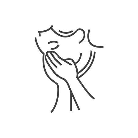 otolaryngology: Otolaryngology, Coughing icon, line icon Style