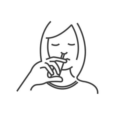 otolaryngology: Otolaryngology, using nasal spray icon, line icon Style