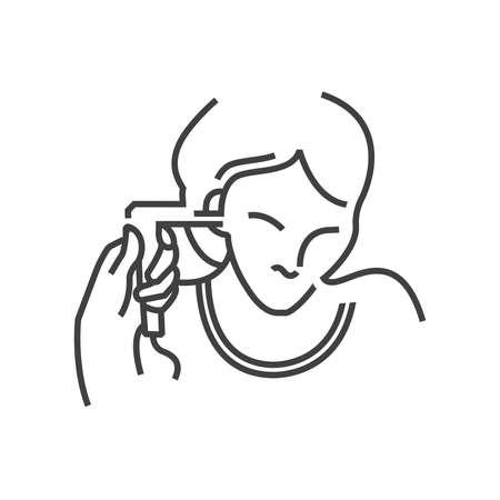 endoscopic: Otolaryngology, Ear endoscopic icon, line icon Style Illustration