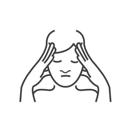 otolaryngology: Otolaryngology, headache icon, line icon Style