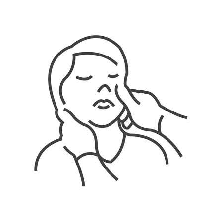optometry: Icon Doctor examination,  eyes examined , line icon Style