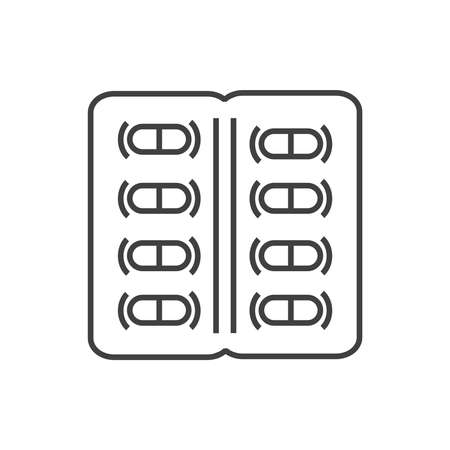 packaging icon: line icons Medical Pharmacist, Pill Packaging  icon Illustration