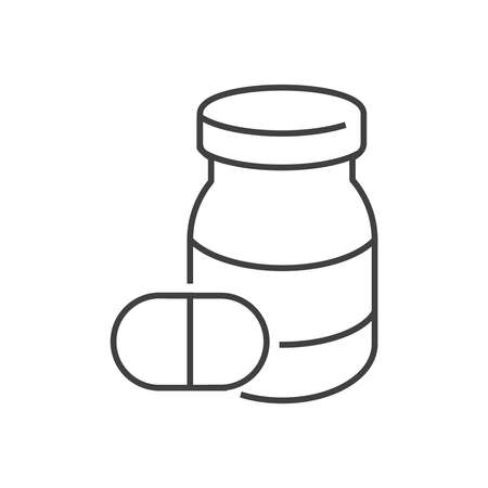 homeopathic: line icons Medical Pharmacist, pill bottle icon Illustration