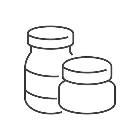 mixtures: line icons Medical Pharmacist, medicine 2 bottles icon