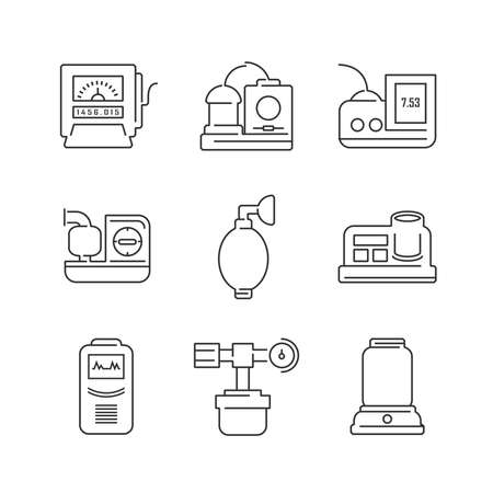 inhaler: Line Icons Medical Device Icon Set of Operating Room Illustration