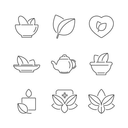 alternative medicine: line icons Set of Alternative Medicine, herb Icons