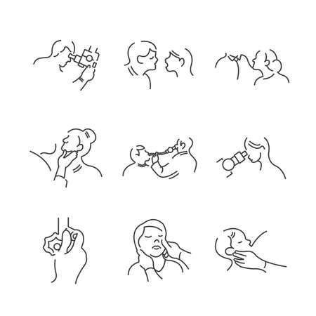 endoscopic: Set of Line Icons Medical Doctors Otolaryngology, physical examination icons set