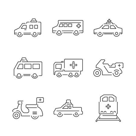transport truck: Line Icons Medical Ambulance car and train set icons