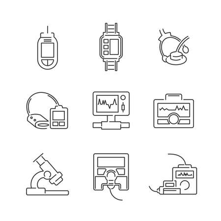 medical device: Line Icons Medical Device Icon Set Illustration