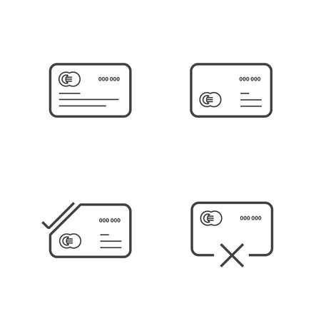 transact: credit card Line icons set Illustration