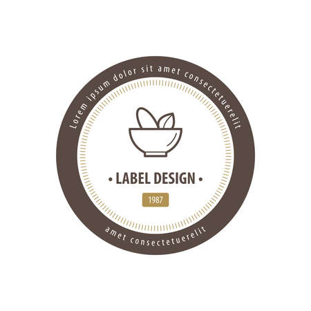 chinaware: Mortar and pestle Label Design brown color