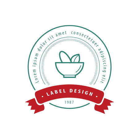 pestle: Mortar and pestle Label Design green and red