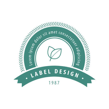 basil leaf: Leaf and Herbs Label Green Illustration