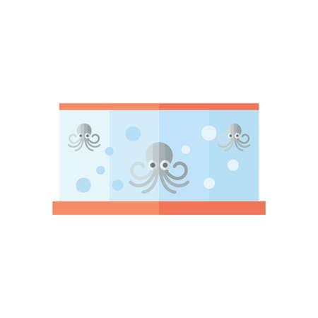 fish tank: Gray Squid in fish tank Illustration