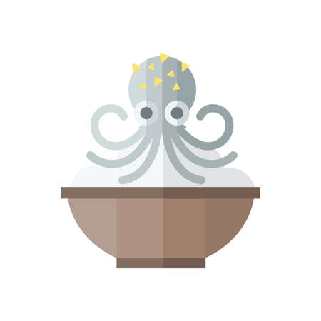 curry rice: Gray Squid and rice Food Illustration
