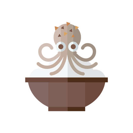 Brown Squid and rice Food Stock Vector - 56355047