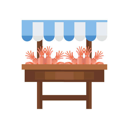 invertebrate: fresh Orange Squid market Illustration